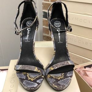 New Jeffrey Campbell grey yellow snake skin HEELS